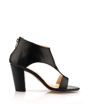 ➤ Černé kožené elegantní boty na podpatku Maria Jaén - Levná i ... b23c881aef
