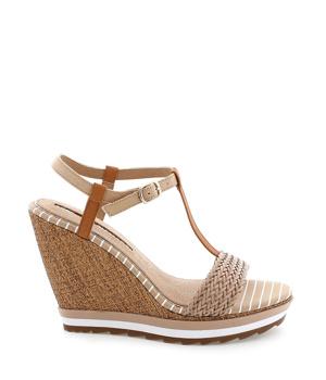 e7ff0ddcac69 ➤ Béžové sandály na klínku MARIA MARE - Levná i značková obuv